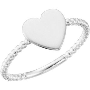 Continuum Sterling Silver Heart Engravable Beaded Ring