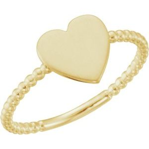 14K Yellow Heart Engravable Beaded Ring