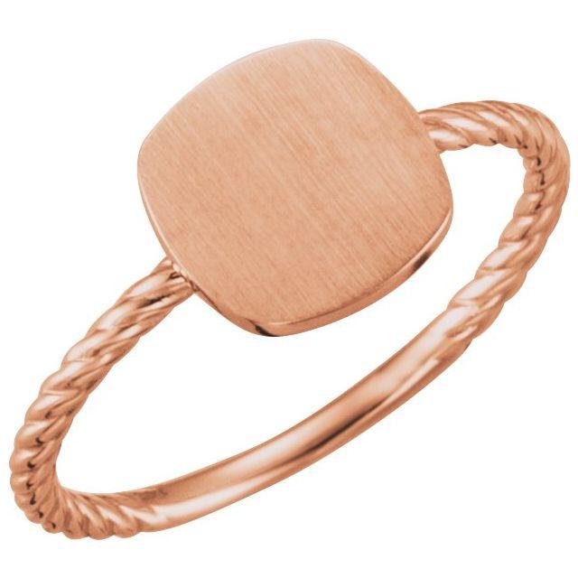 14K Rose Antique Engravable Rope Ring