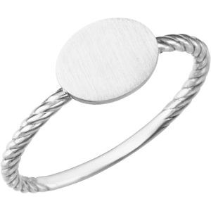Continuum Sterling Silver Oval Engravable Rope Ring