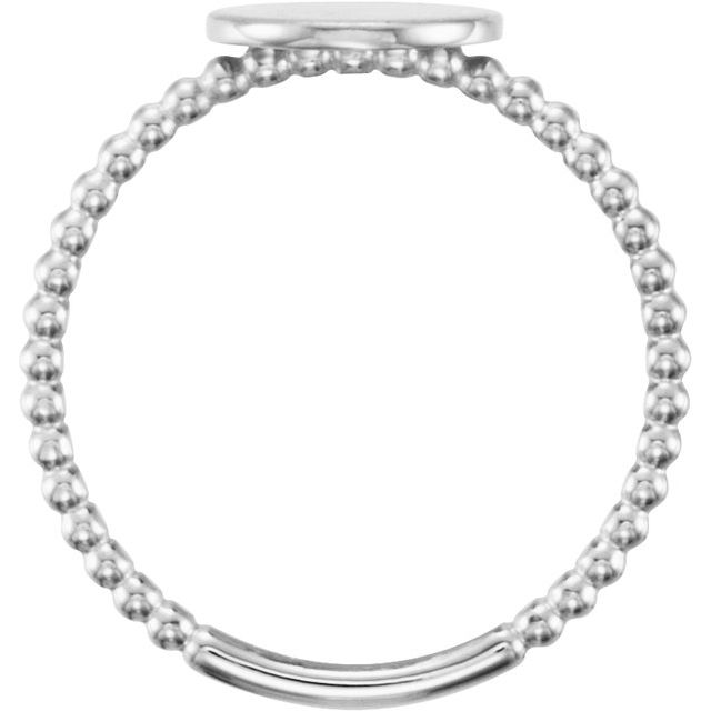 Continuum Sterling Silver Round Engravable Beaded Ring