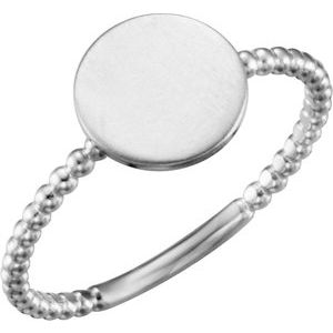 14K White Round Engravable Beaded Ring