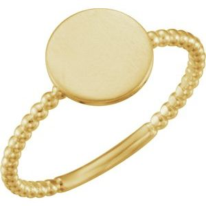 14K Yellow Round Engravable Beaded Ring