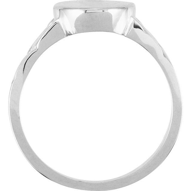 14K White 14x11 mm Oval Signet Ring