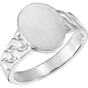 14K White 14x11 mm Oval Signet Ring