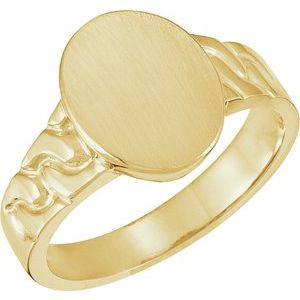 14K Yellow 14x11 mm Oval Signet Ring