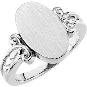 Sterling Silver 16.1x9.5 mm Oval Signet Ring
