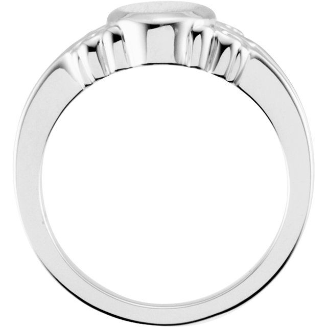 14K White 9.7x8 mm Oval Signet Ring