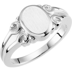 Sterling Silver 9.7x8 mm Oval Signet Ring