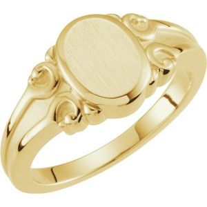 14K Yellow 9.7x8 mm Oval Signet Ring