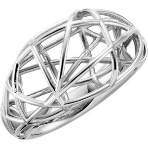 14K White Nest Design Ring