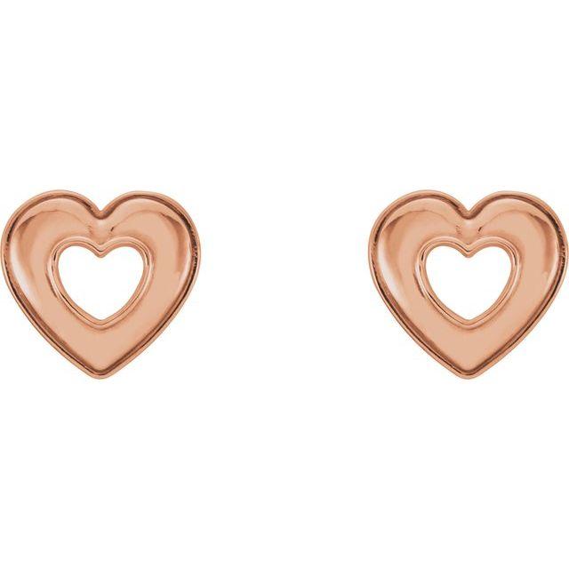 14K Rose 8.5x8 mm Heart Earrings