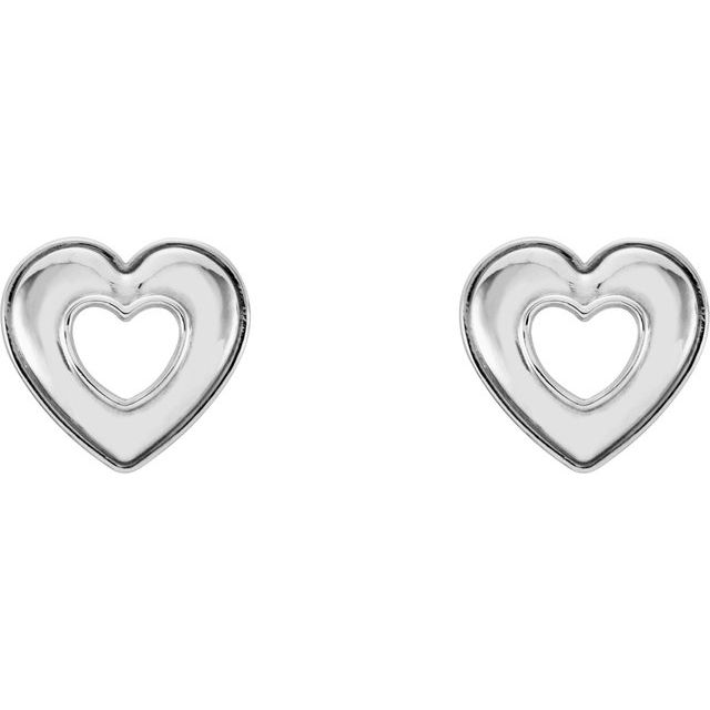 14K White 8.5x8 mm Heart Earrings