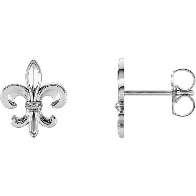 14K White Fleur-De-Lis Earrings
