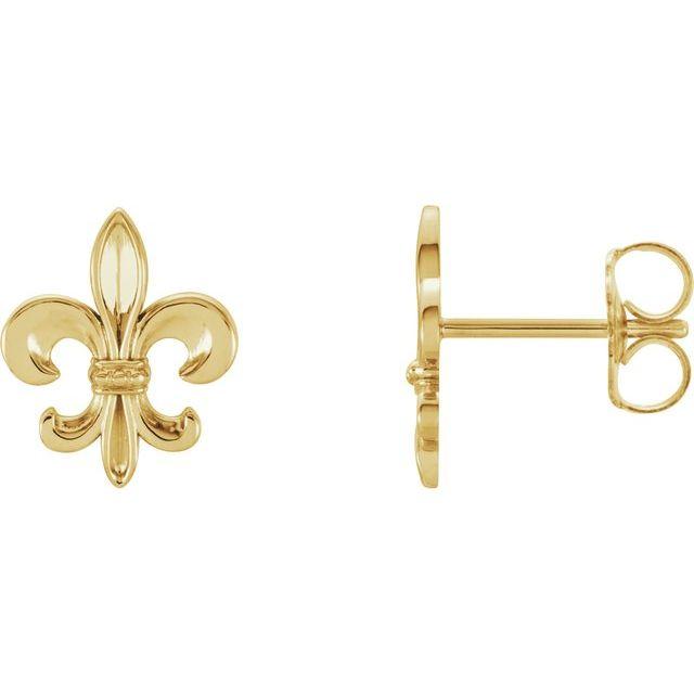 14K Yellow Fleur-De-Lis Earrings