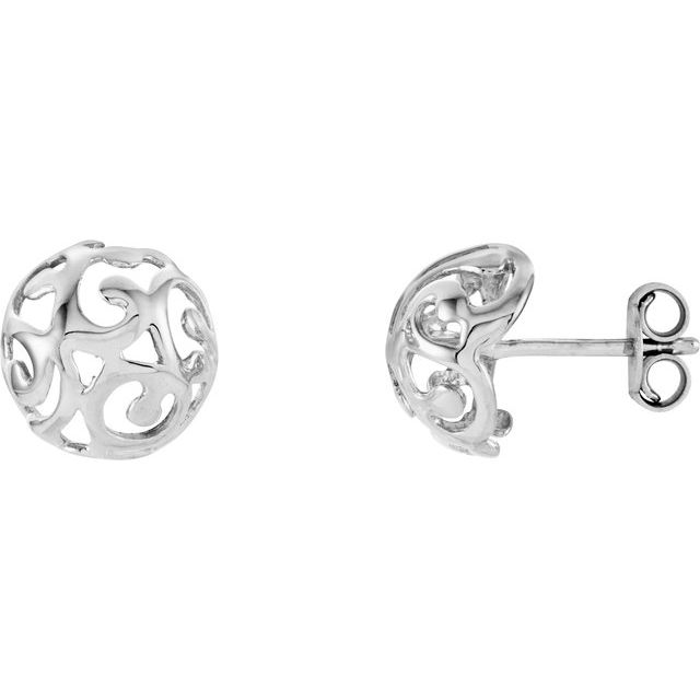 14K White 11 mm Scroll Dome Earrings