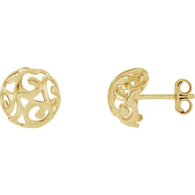 14K Yellow 11 mm Scroll Dome Earrings