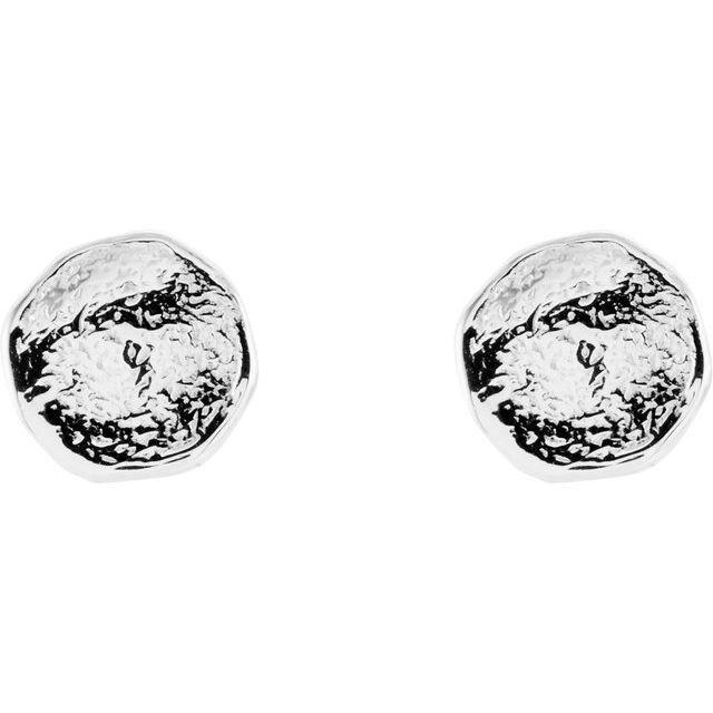 14K White Textured Earrings