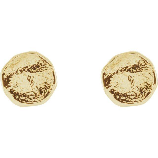 14K Yellow Textured Earrings