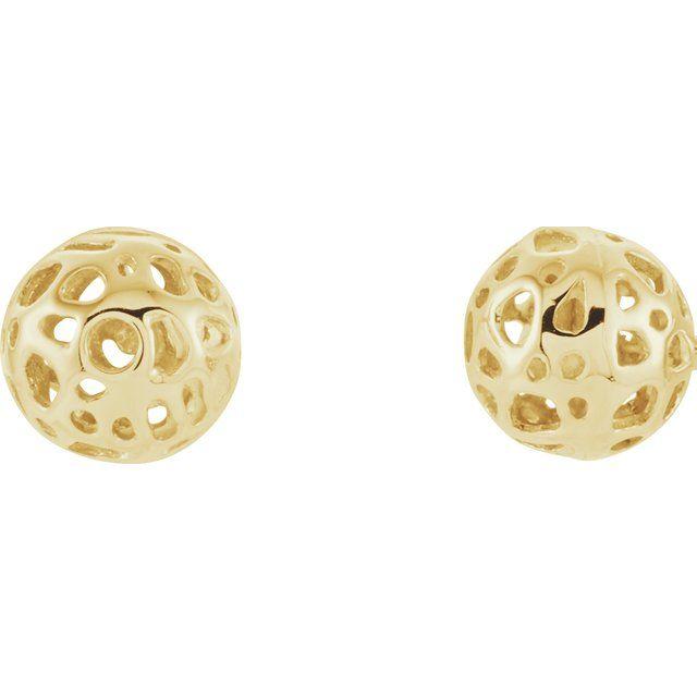 14K Yellow Ball Earrings