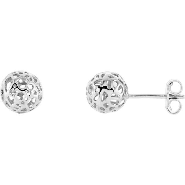 14K White 7.4 mm Pierced Ball Earrings