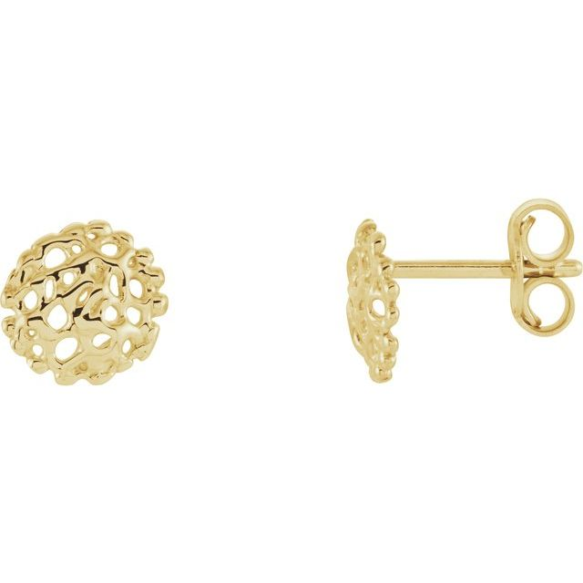 14K Yellow 8 mm Textured Stud Earrings