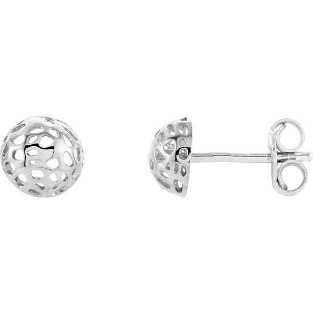 14K White Half Ball Textured Earrings