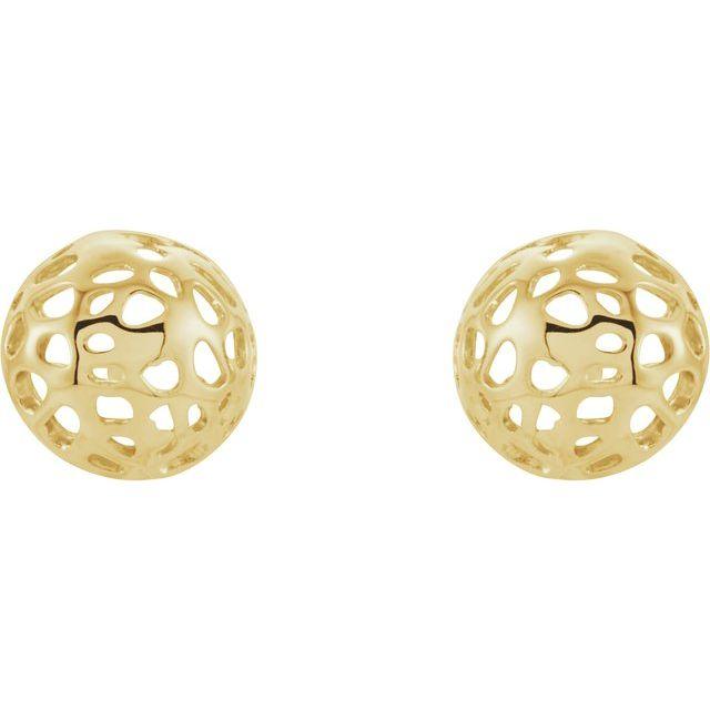 14K Yellow Half Ball Textured Earrings