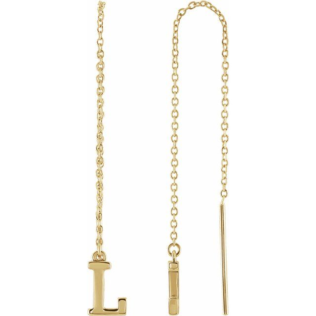 14K Yellow Single Initial L Chain Earring