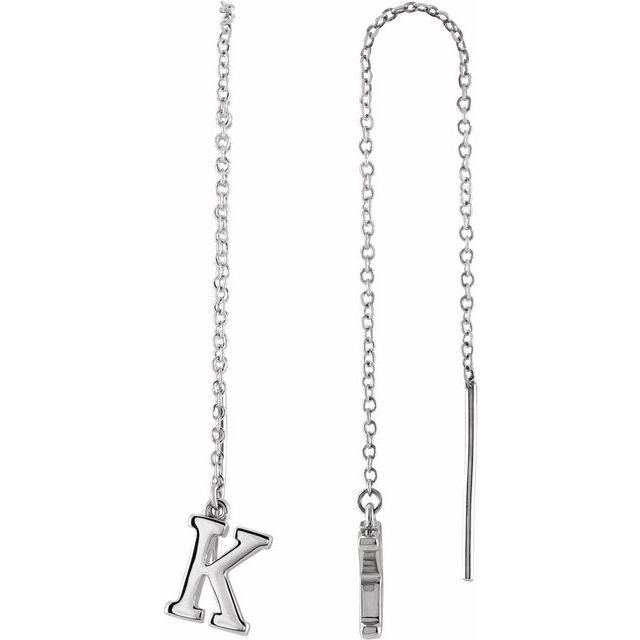 14K White Single Initial K Chain Earring