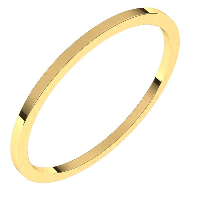 14K Yellow 1 mm Flat Band Size 6.5
