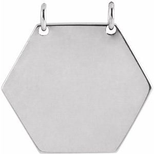 Sterling Silver 14 mm Engravable Hexagon Necklace Center