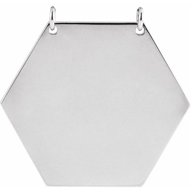 14K White 20 mm Hexagon Necklace Center