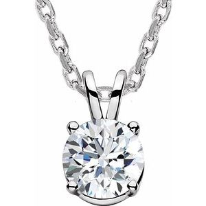 "14K White  5/8 CT Lab-Grown Diamond Solitaire 16-18"" Necklace"