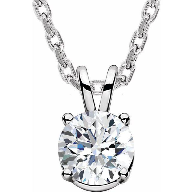 14K White  5/8 CT Lab-Grown Diamond Solitaire 16-18