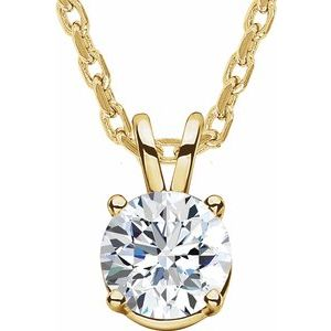 """14K Yellow  1/4 CT Lab-Grown Diamond Solitaire 16-18"""" Necklace"""