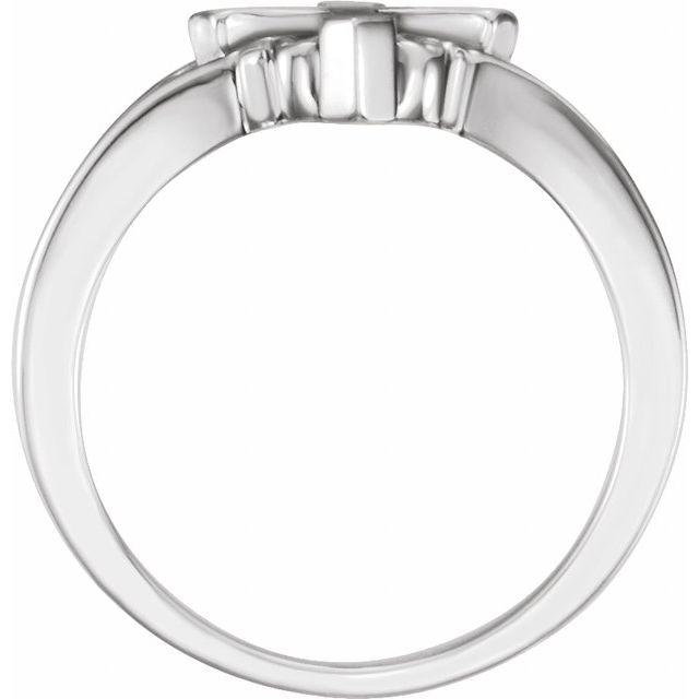 14K White 13 mm Cross Ring