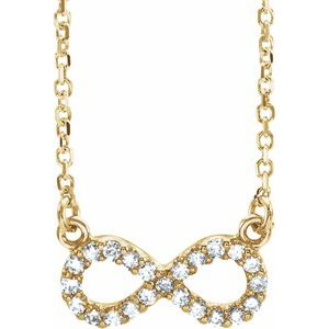 "14K Yellow .08 CTW Diamond Infinity 16 1/2"" Necklace"
