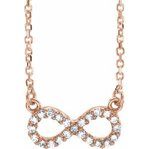 "14K Rose .08 CTW Diamond Infinity 16 1/2"" Necklace"