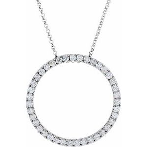 "14K White 1 CTW Diamond Circle 18"" Necklace"