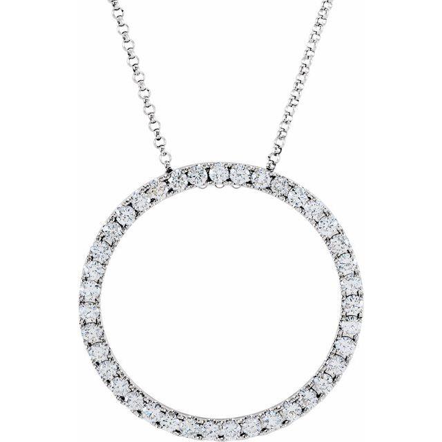 14K White 1 CTW Diamond Circle 18