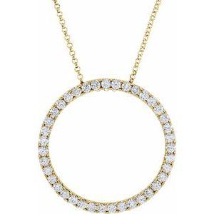 "14K Yellow 1 CTW Diamond Circle 18"" Necklace"