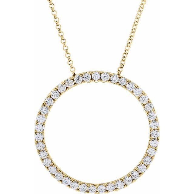 14K Yellow 1 CTW Diamond Circle 18
