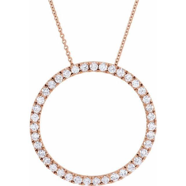 14K Rose 1 CTW Diamond Circle 18