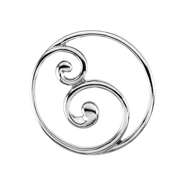 14K White 20 mm Scroll Circle Pendant