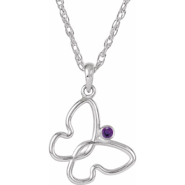 Sterling Silver 2 mm Round Amethyst Butterfly 18