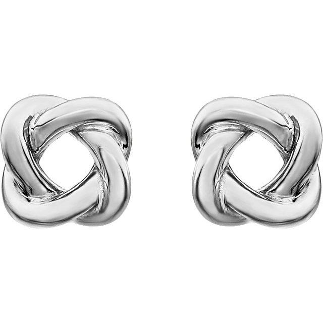 14K White 7x7 mm Knot Earrings