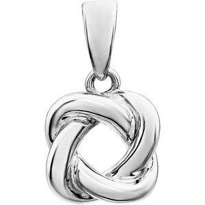 14K White Knot Design Pendant