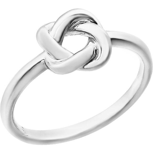 14K White Knot Design Ring