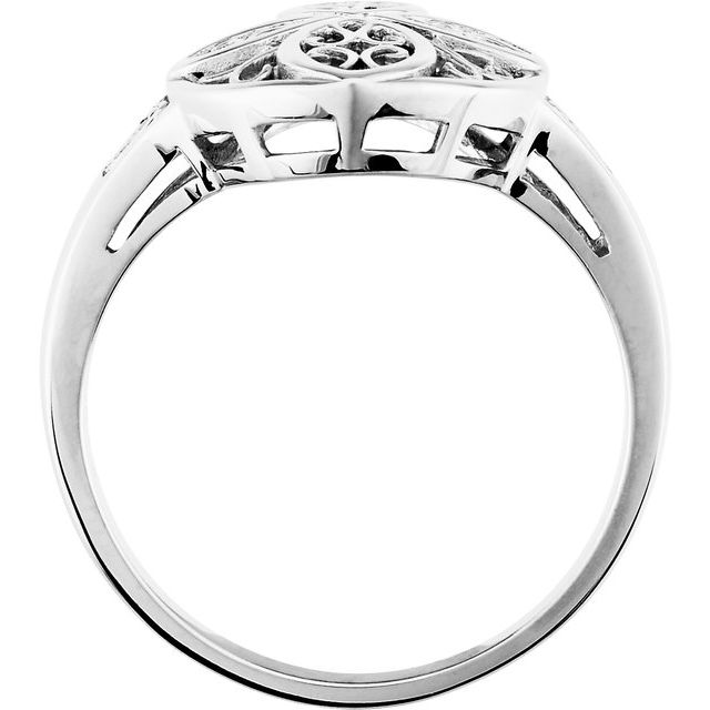 14K White Filigree Ring